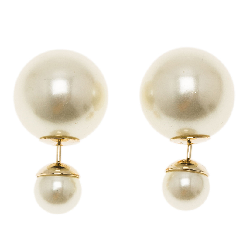 Dior Tribale Faux Pearl Stud Earrings