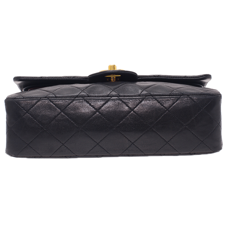 Chanel Black Vintage Quilted Lambskin Small Classic Double Flap Bag