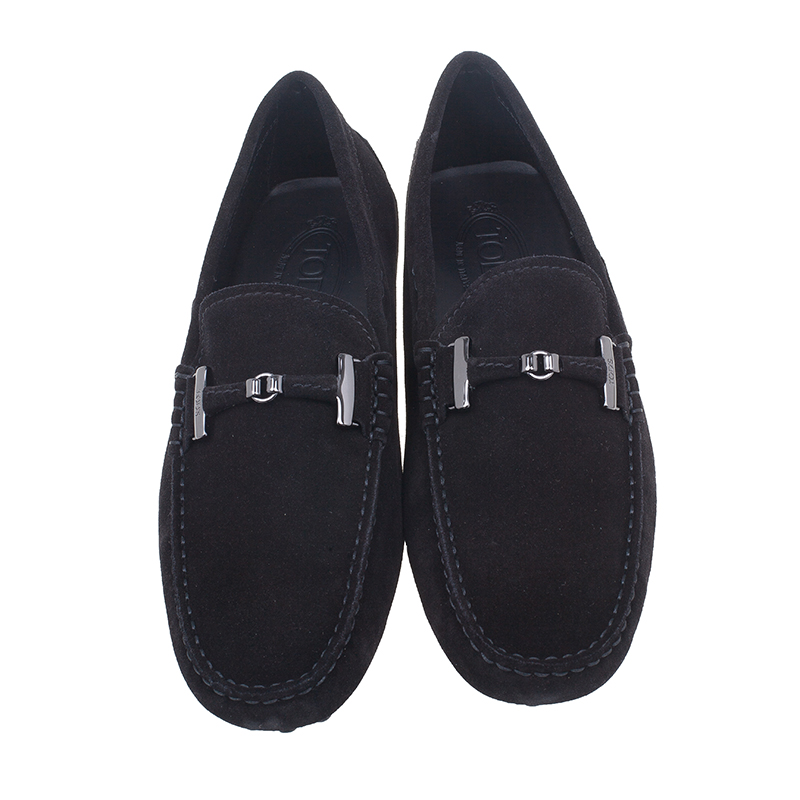 Tod's Black Suede Horsebit Buckle Loafers Size 41.5
