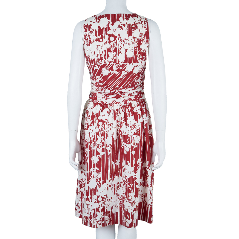 Moschino Red & White Print Knee Length Dress M