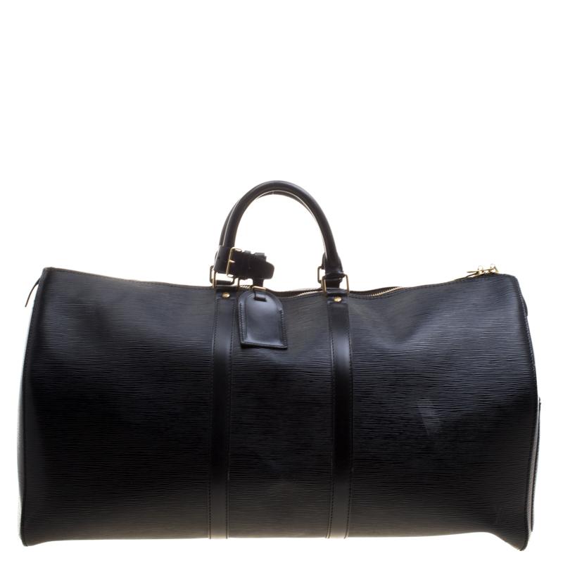 Купить со скидкой Louis Vuitton Black Epi Leather Keepall 55 Bag