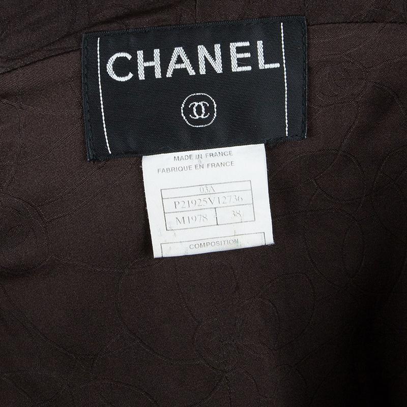 Chanel Wool Plaid Fur Collar Jacket M