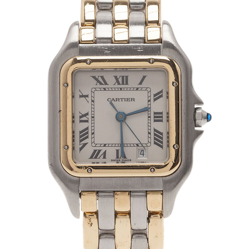 Cartier Ivory 18K Yellow Gold and Steel Panthere Women's Wristwatch 27MM