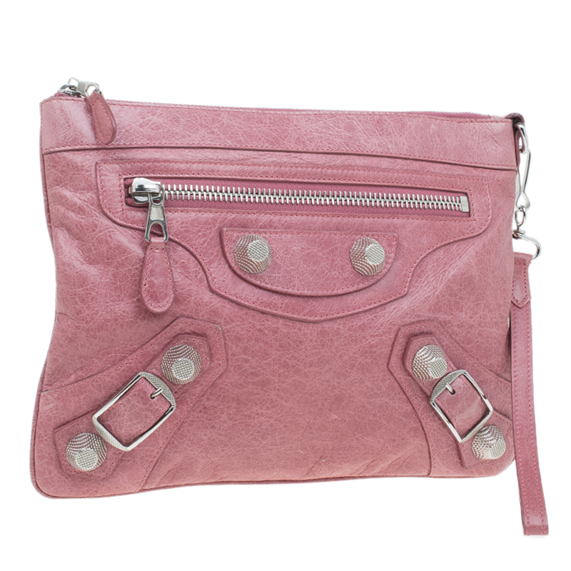 Balenciaga Pink Lambskin Leather Flat Clutch