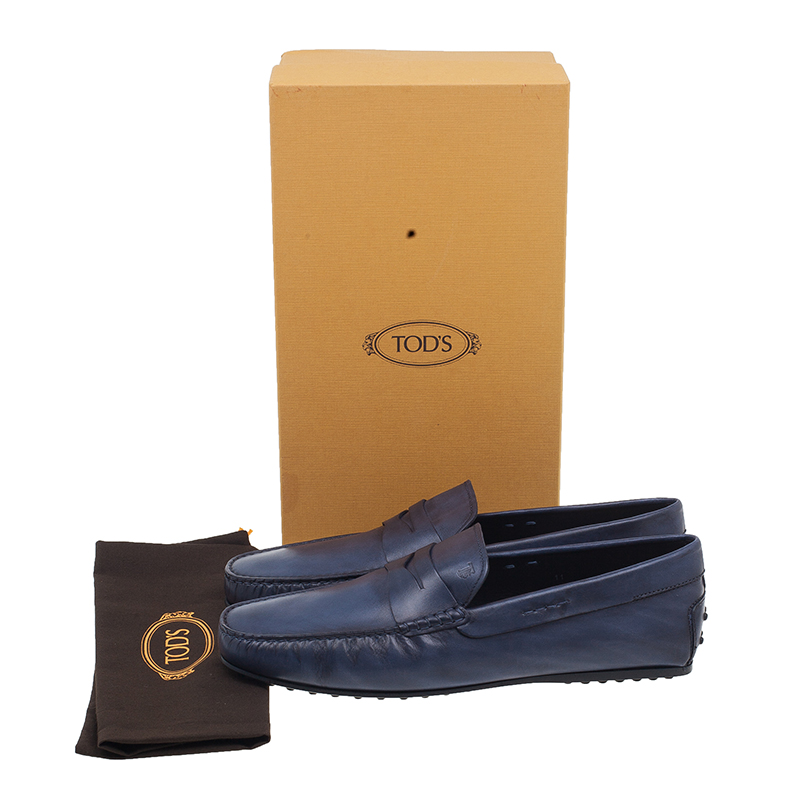 Tod's Blue Leather Penny Loafers Size 45