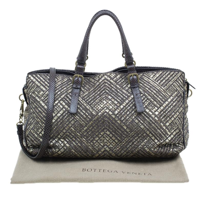 Bottega Veneta Metallic Gold Leather/Python Limited Edition Intrecciato Satchel