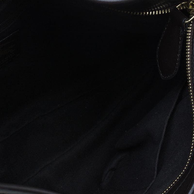 Burberry Beige Haymarket Chack Front Pocket Hobo Bag
