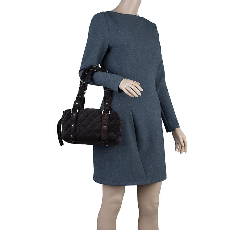 Chanel Brown Suede Lady Braid Satchel Bag