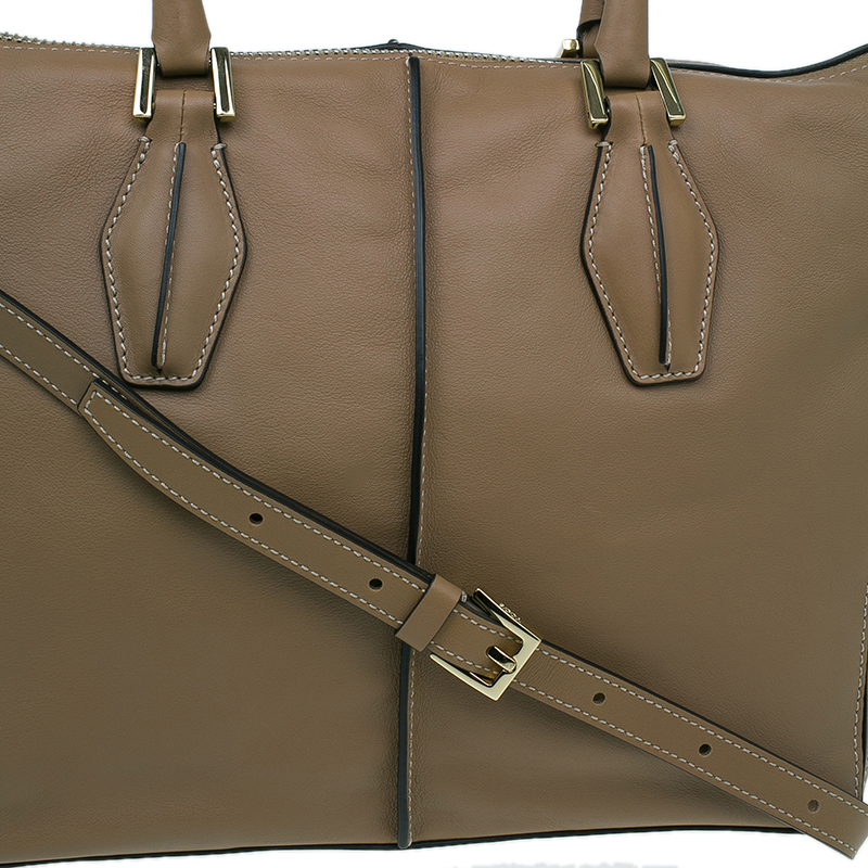 Tod's Beige Leather Small CC Zip Tote Bag