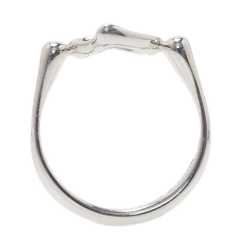 Tiffany & Co. Elsa Peretti Open Heart Silver Ring Size 49