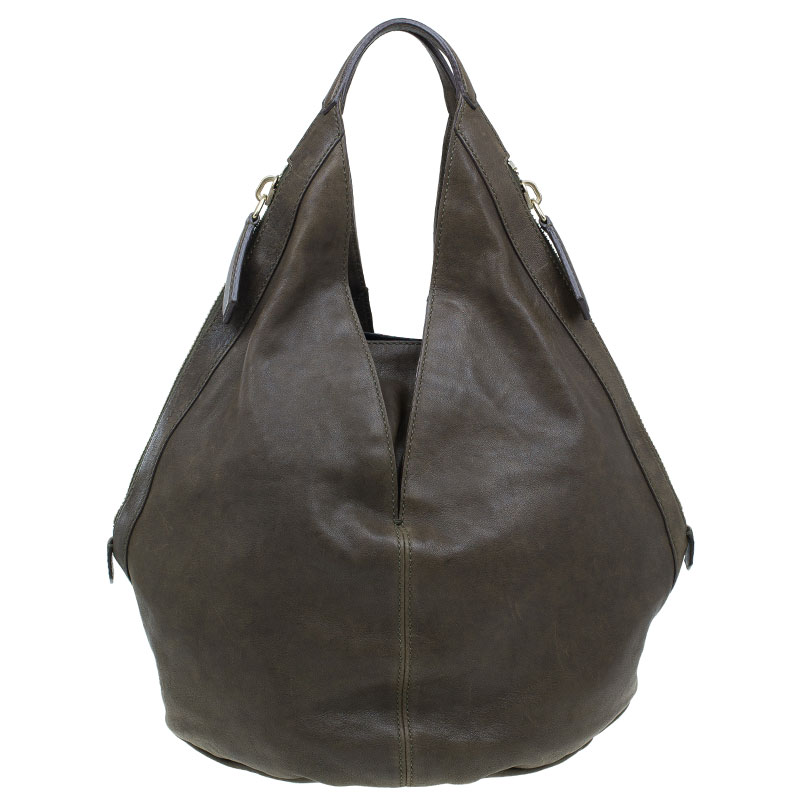 Givenchy Military Green Leather Medium Tinhan Hobo