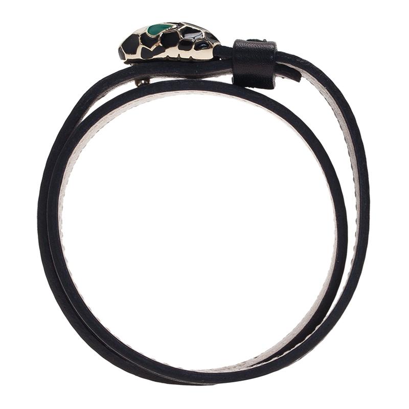 Bvlgari Serpenti Double Coiled Black Leather Bracelet
