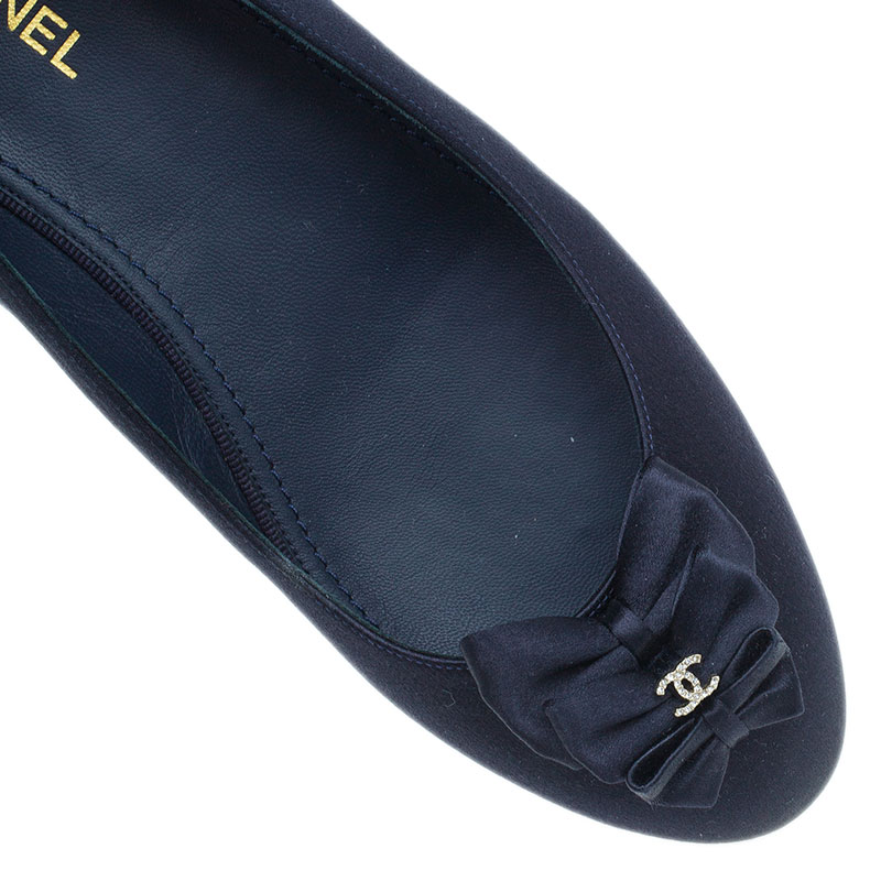Chanel Navy Blue Satin Bow Ballet Flats Size 38