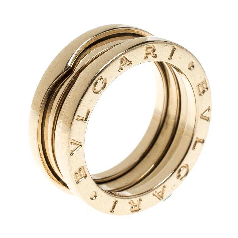Купить со скидкой Bvlgari B.Zero 1 18k Yellow Gold 3 Band Ring Size 51