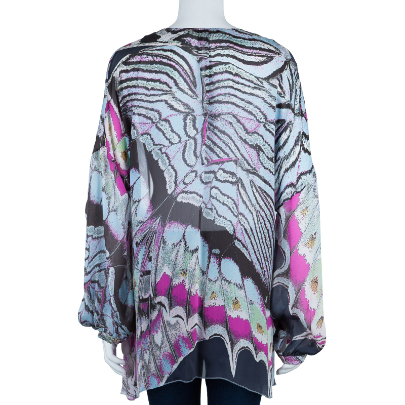 Roberto Cavalli Chiffon Butterfly Printed Top L