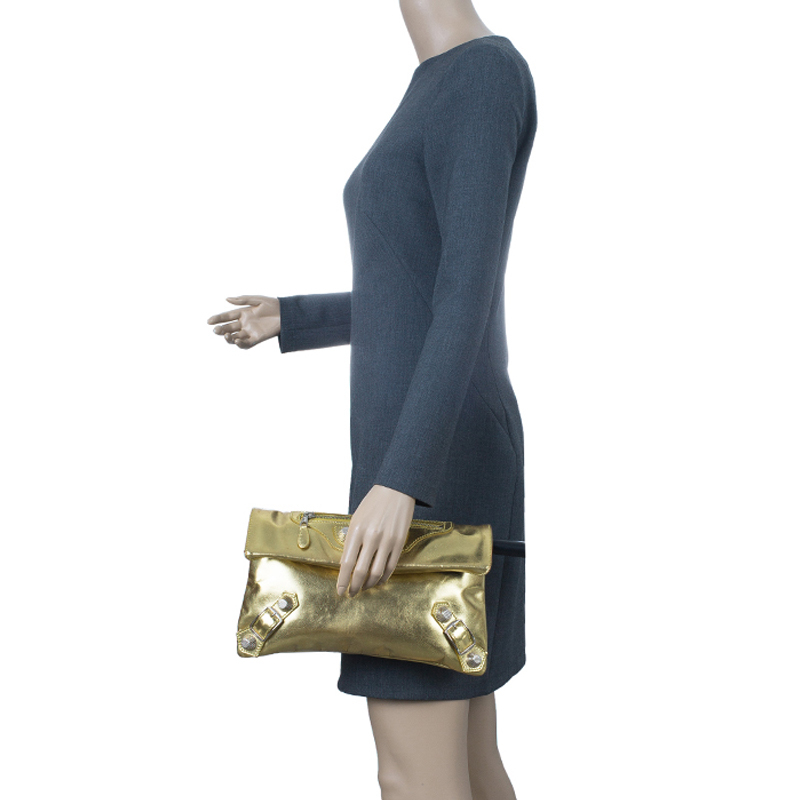 Balenciaga Gold Laminated Calfskin Giant 21 Envelope Clutch