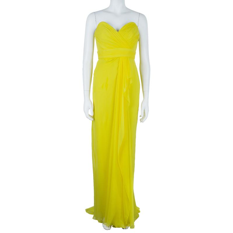 Notte by Marchesa Strapless Silk Chiffon Gown XS