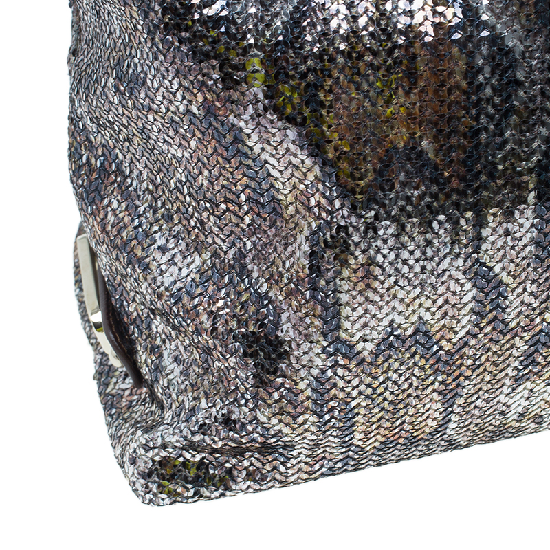 Jimmy Choo Brown Python Print Leather/Sequin Bea Tote Bag