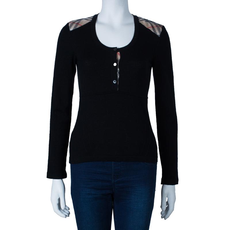 Burberry Black Novacheck Knit Top S