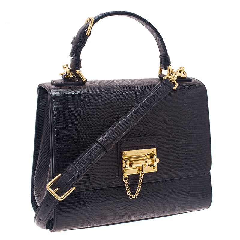 Dolce and Gabbana Black Iguana Leather Monica Tote Bag