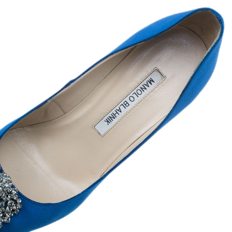 Manolo Blahnik Blue Satin Hangisi Embellished Pumps Size 37