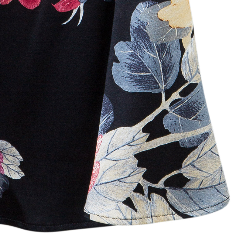 Roberto Cavalli Black Floral Print Silk Skirt M