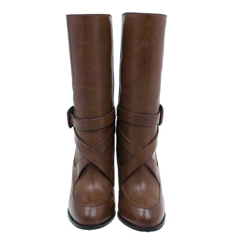 Tod's Brown Leather Cross Strap Knee Boots Size 40
