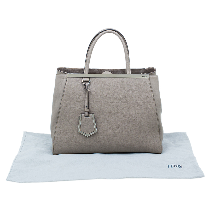 Fendi Beige Saffiano Leather 2Jours Tote
