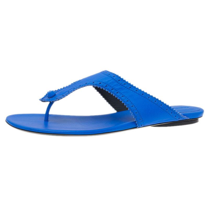 Balenciaga Blue Leather Athena Thong Sandals Size 41