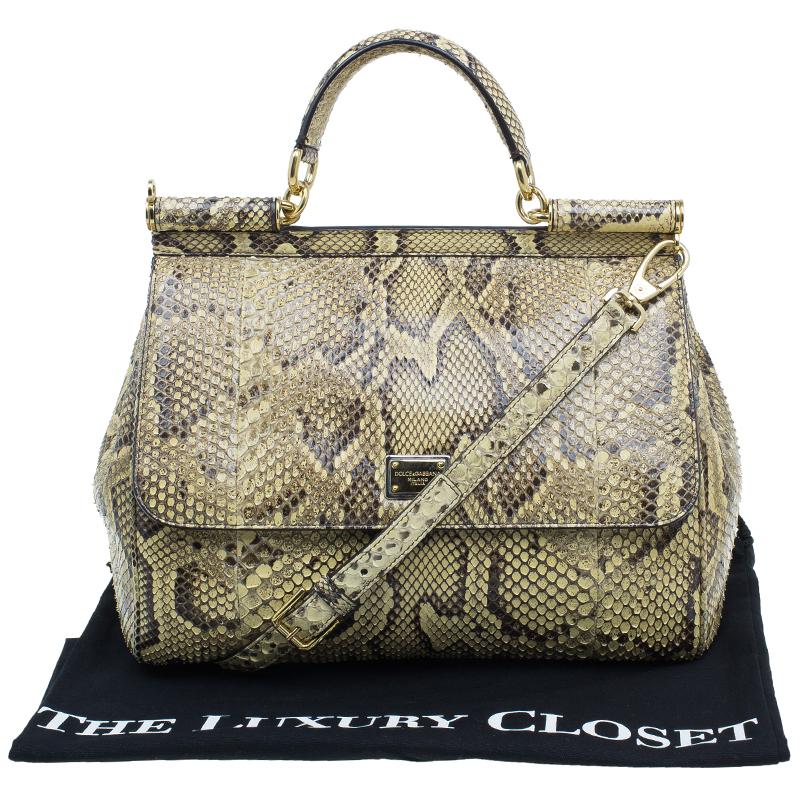 Dolce and Gabbana Yellow Python Medium Miss Sicily Satchel Bag