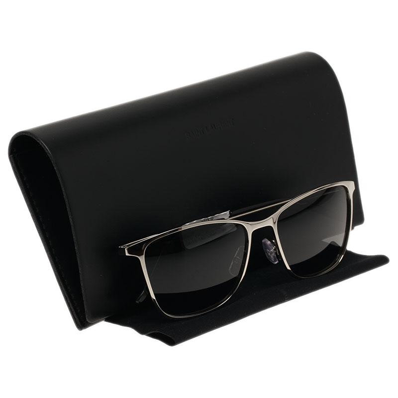 Saint Laurent Paris Silver Rectangle Sunglasses