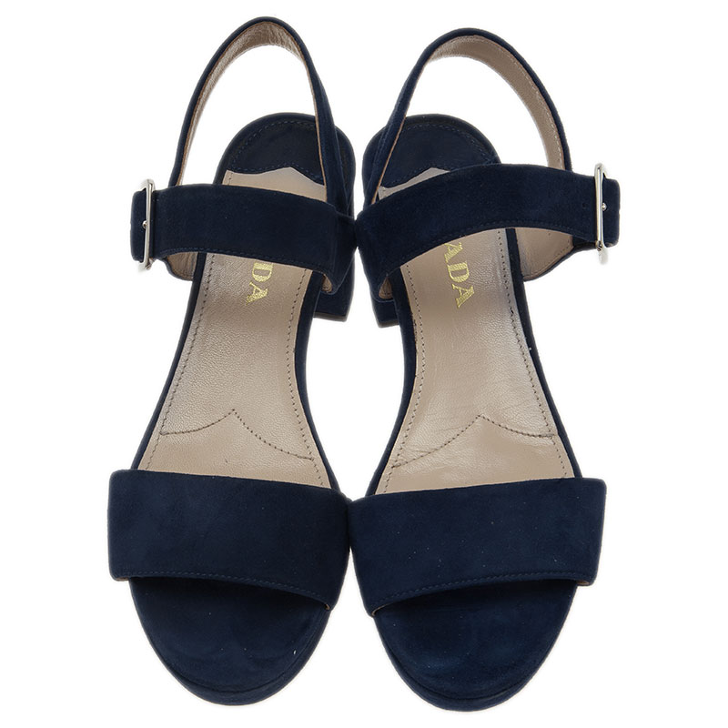 Prada Blue Suede Two Strap Block Heel Sandals Size 36