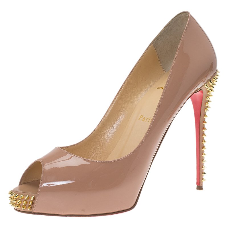 Christian Louboutin Beige New Very Prive Spikes Peep Toe Pumps