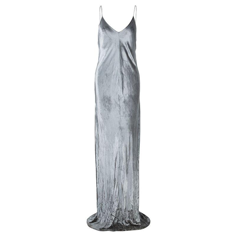 T By Alexander Wang Panne Velvet Silver Camisole Maxi Dress M
