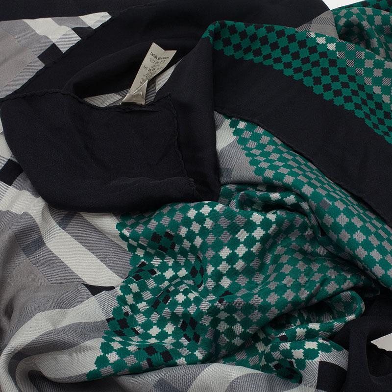 Burberry Green and Grey Novacheck Silk Scarf