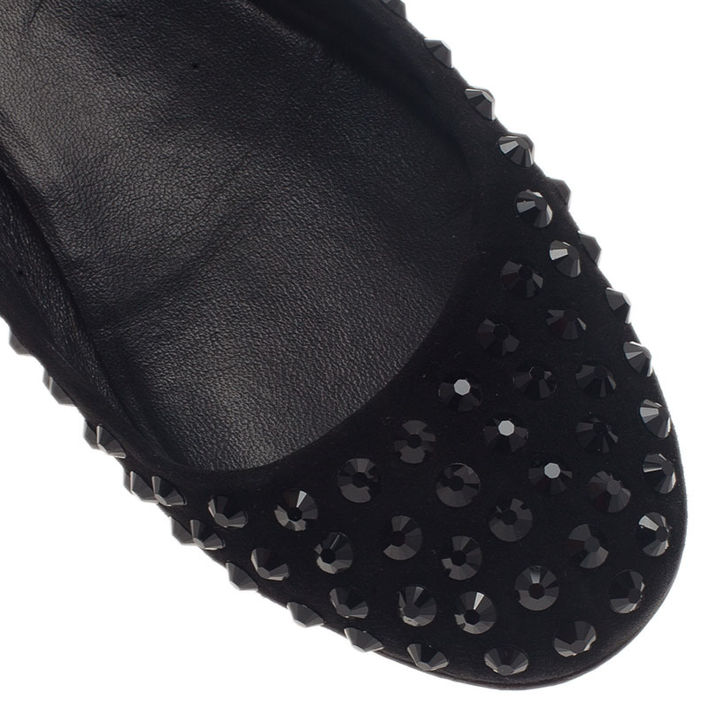 Gucci Black Crystal Studded Suede Ballet Flats Size 39