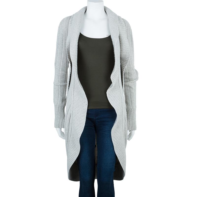 Chanel Grey Cashmere Long Cardigan M