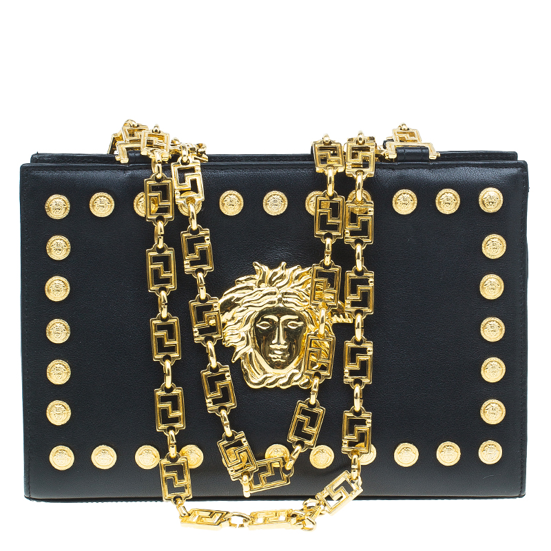223ecaf9b349 Gianni Versace Black Leather Vintage Studs Medusa Shoulder Bag - Buy   Sell  - LC