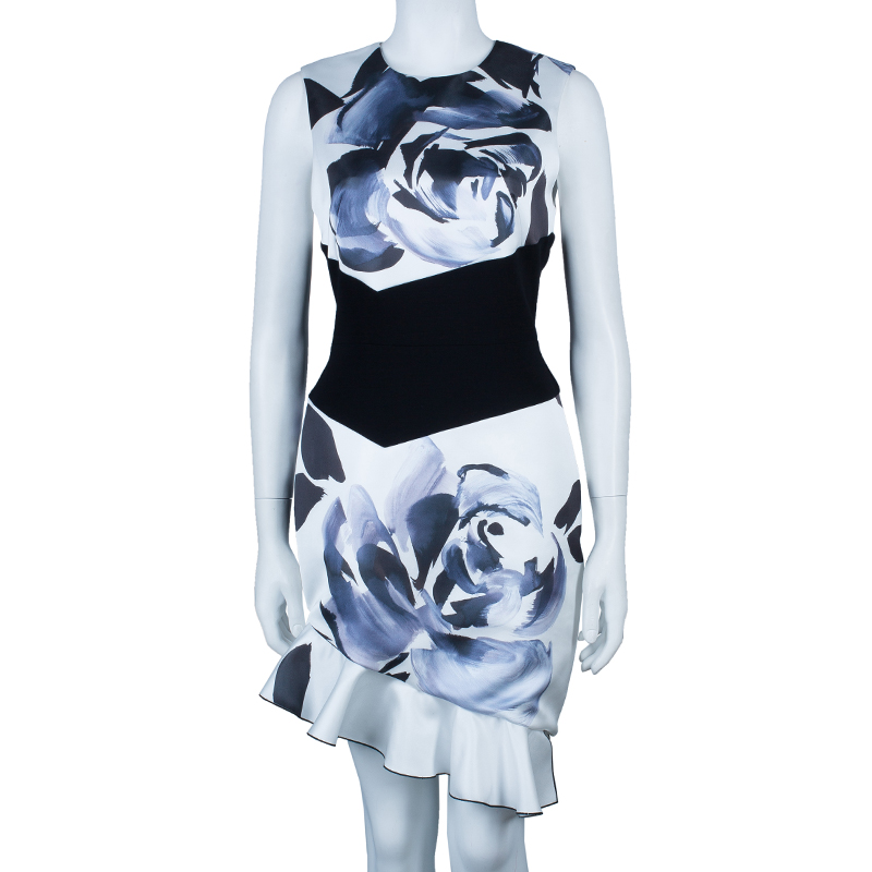 Prabal Gurung Rose Print Asymmetric Sleeveless Dress M
