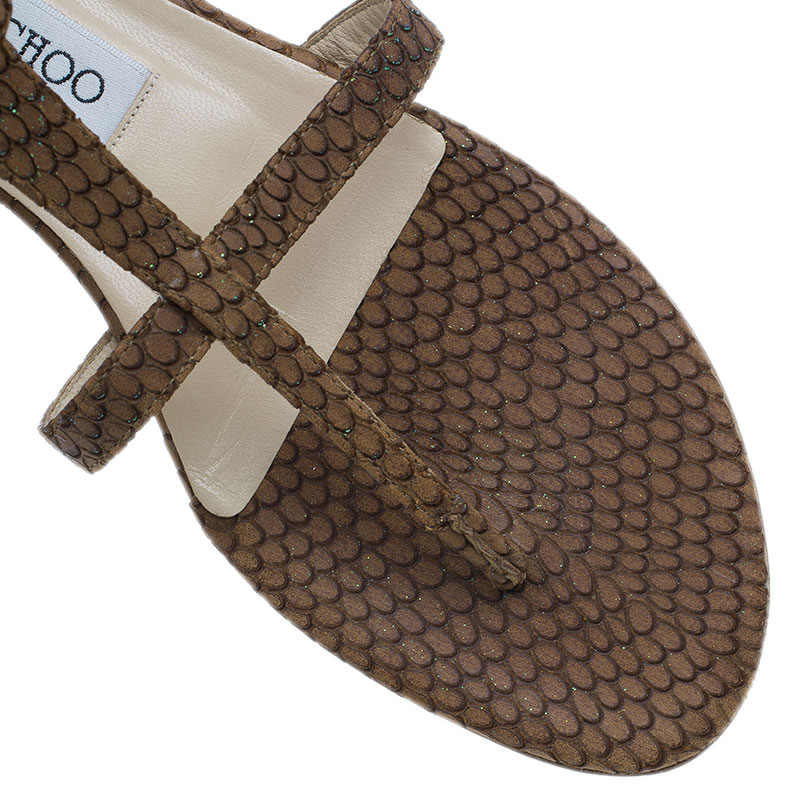 Jimmy Choo Brown Embossed Leather Thong Flat Sandals Size 38.5