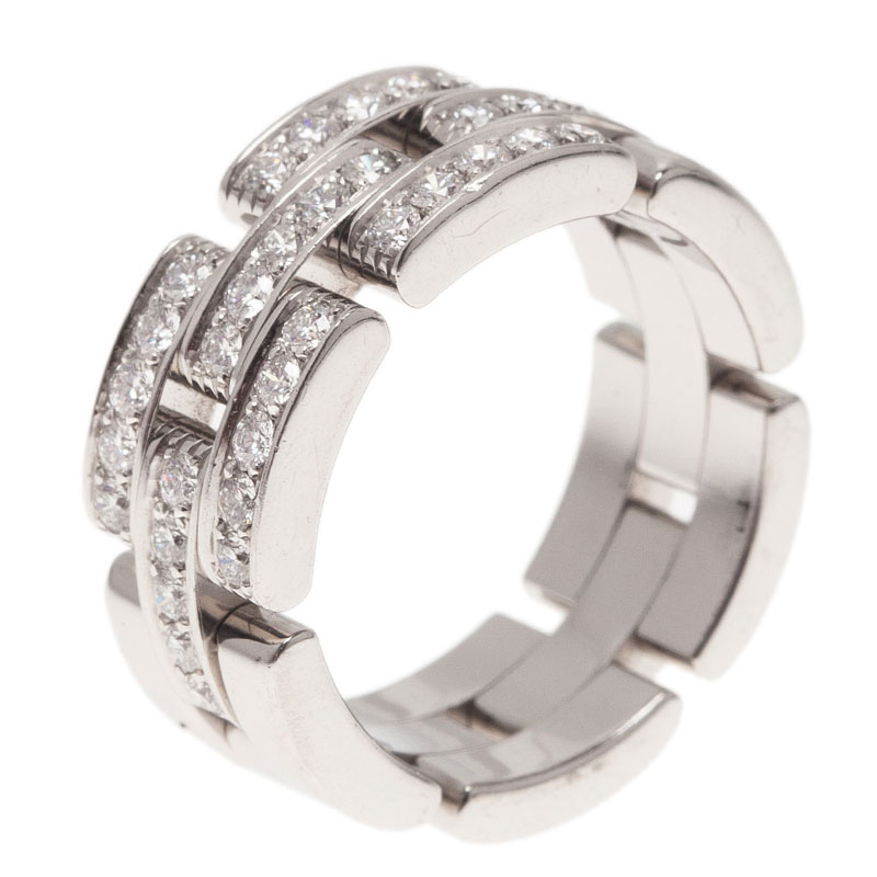 Cartier Maillon Panthere Diamond White Gold Band Ring Size 52