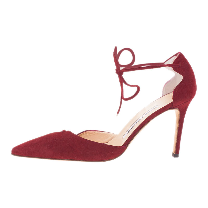 Manolo Blahnik Red Suede Ankle Wrap Sandals Size 36