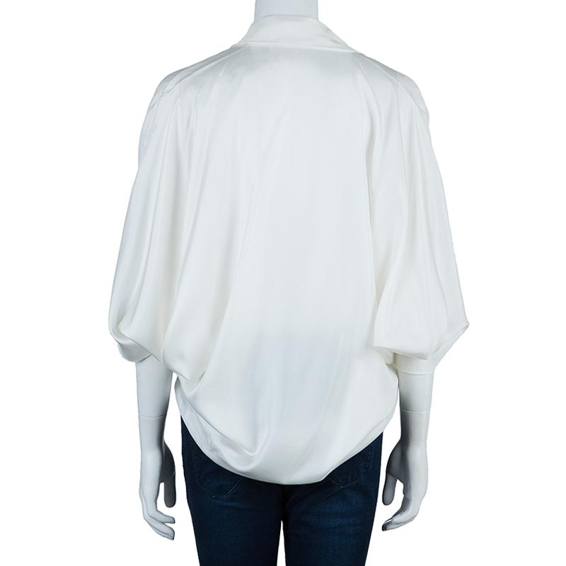 Lanvin White Oversize Silk Top M
