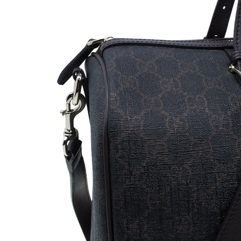 Gucci Brown Coated Canvas Medium Nice GG Supreme Boston Bag