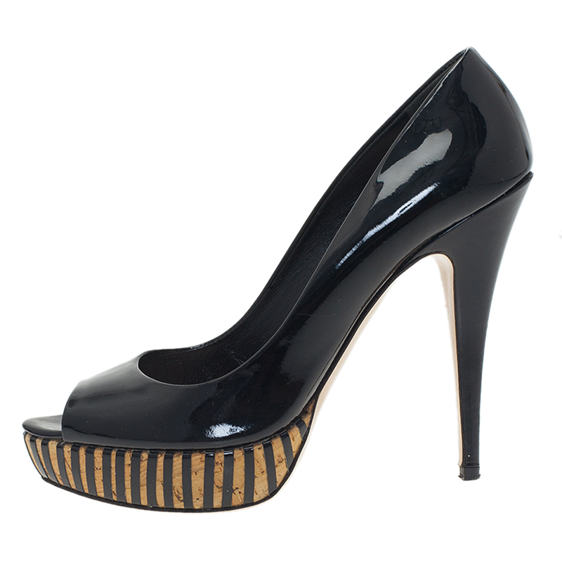 Miu Miu Black Patent Peep Toe Platform Pumps Size 41