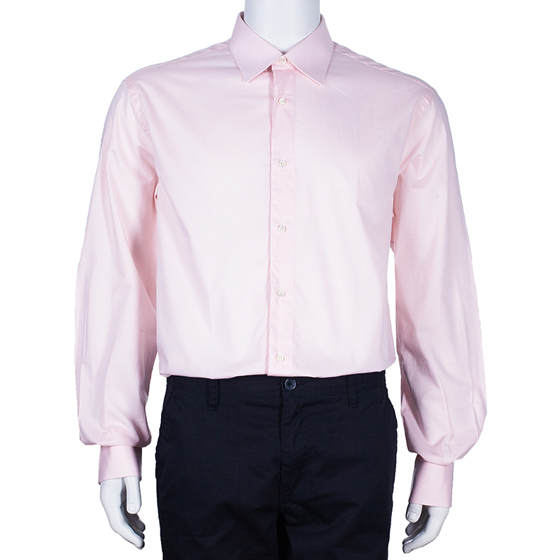 Brioni Men's Light Pink Cotton Shirt L