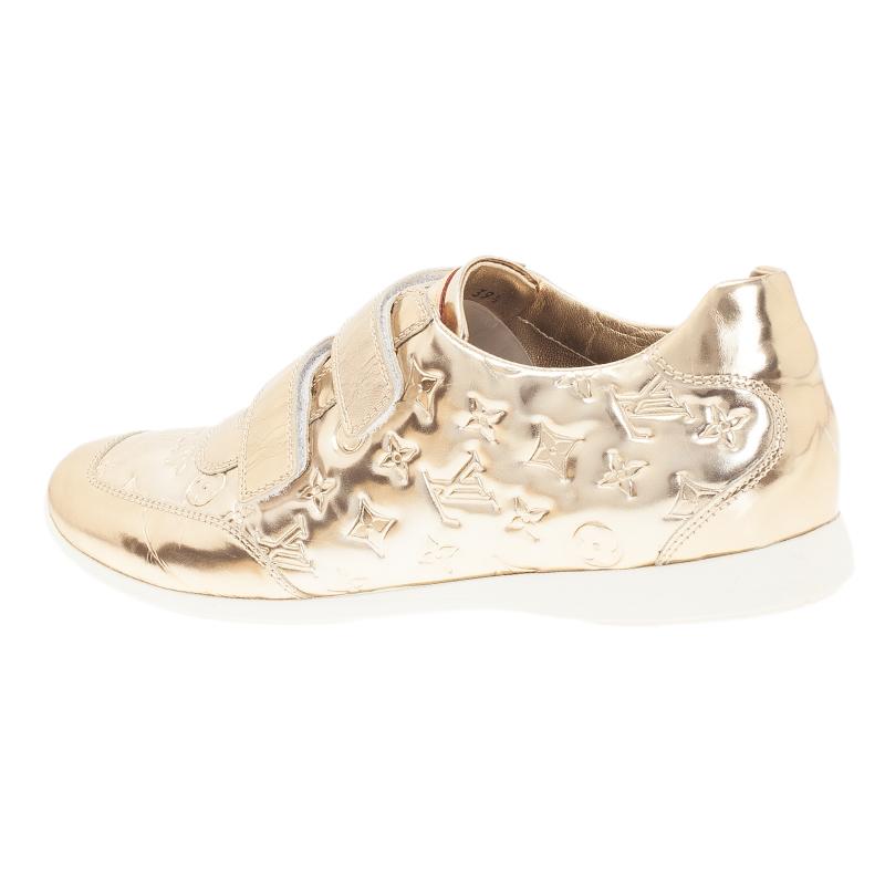 Louis Vuitton Metallic Gold Monogram Mirror Tennis Shoes Size 39.5