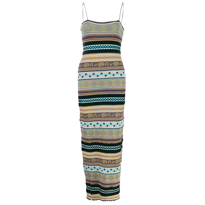 M Missoni Multicolor Crochet Knit Maxi Dress S