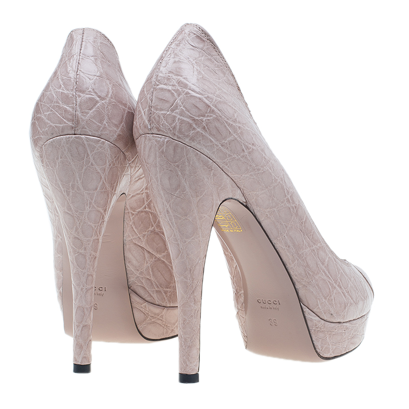 Gucci Beige Embossed Leather Peep Toe Pumps Size 39