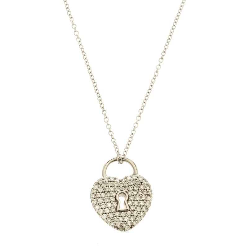 Tiffany co heart lock diamond paved platinum pendant 18k white prevnext aloadofball Choice Image